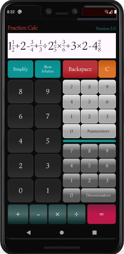 Fraction Calculator App Photo