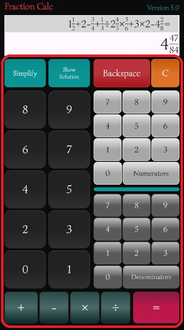 Fraction Calculator apps buttons explanation.