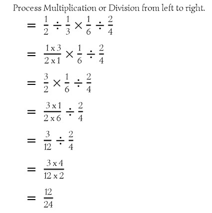 Fraction operation from left to right.